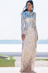 Long Sleeve Gown with Slit Detail in Klimt Inspired Sequin