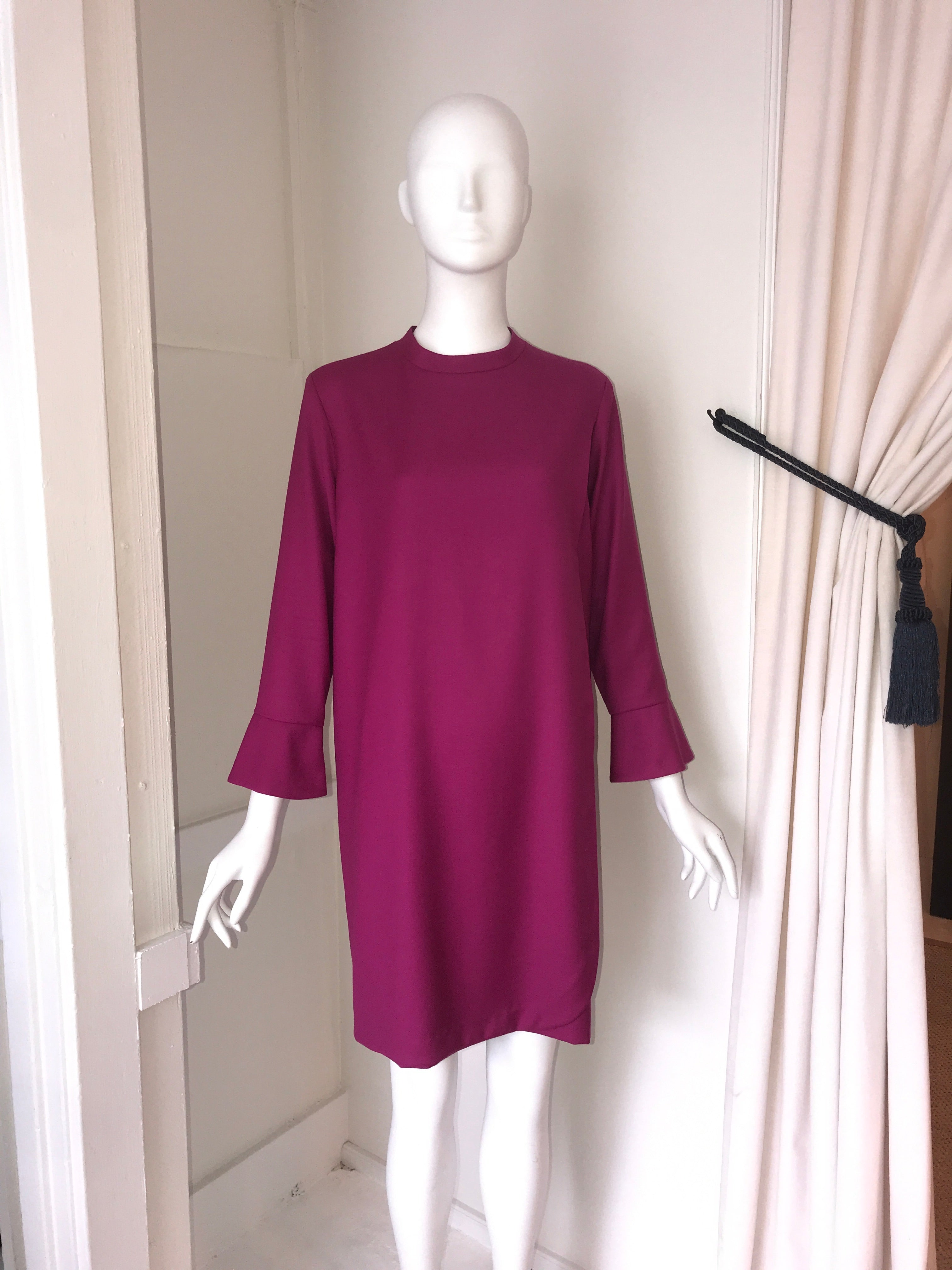 Classic Wool Crepe Dress w/Front Panel and Cuff Detail