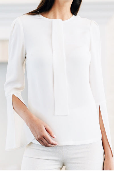 Optional Tie Blouse with Open Bell Sleeve