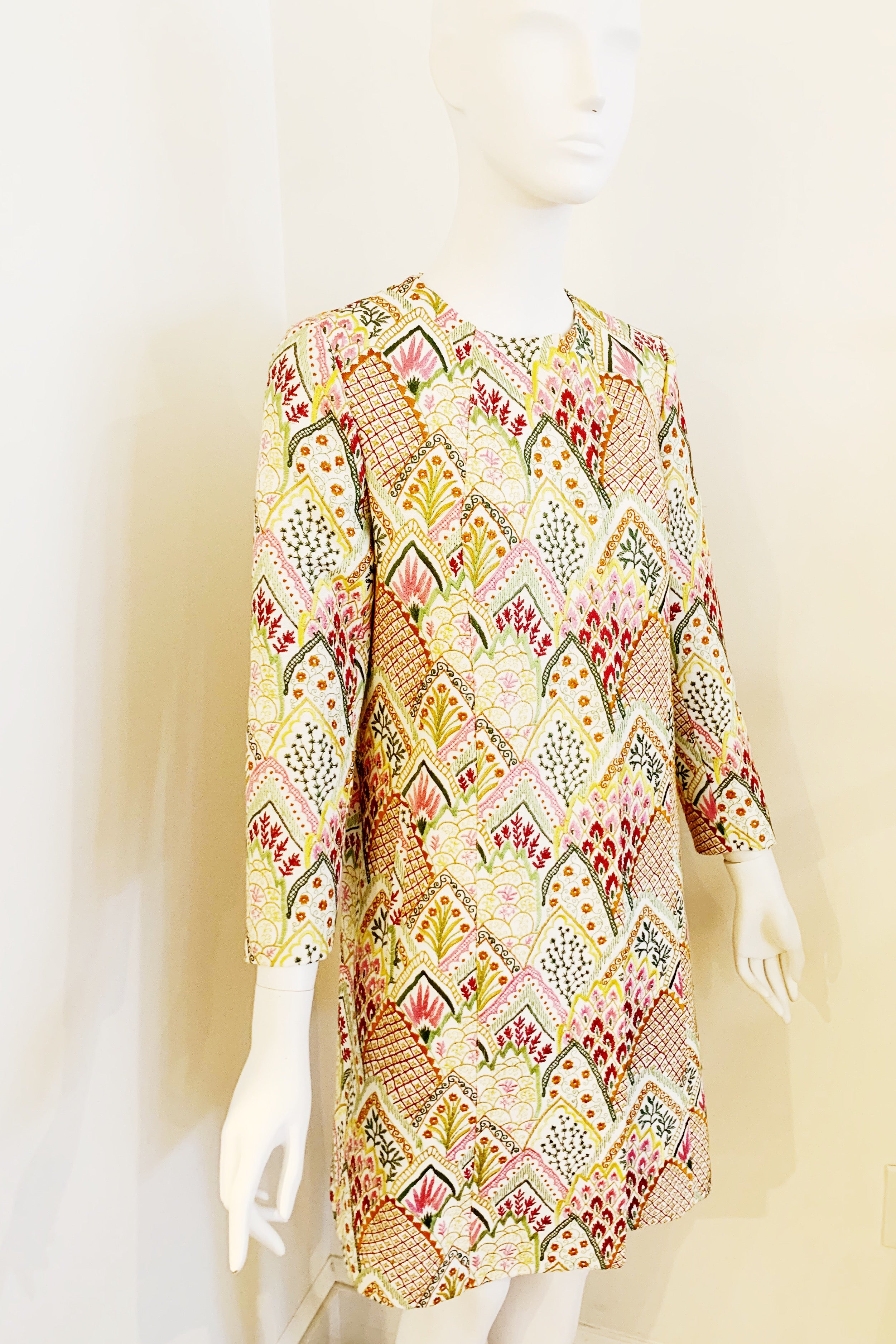 Embroidered Swing Coat
