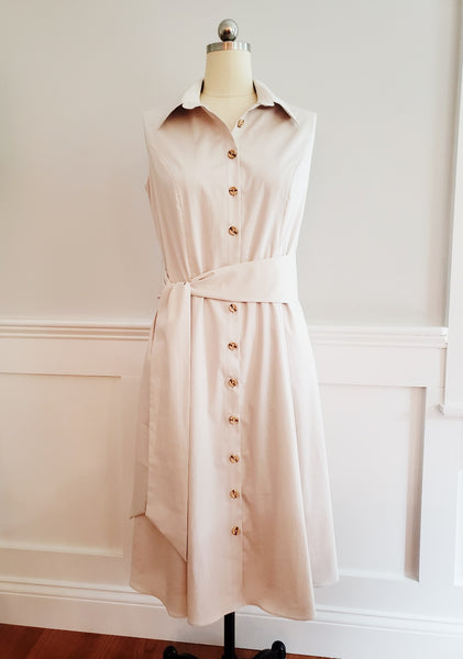 Sleeveless Cotton Shirt Dress