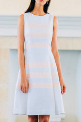 Seam Stripe Pleat Dress with Pockets