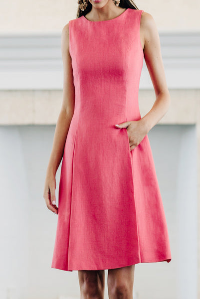 Sleeveless Pleat Dress with Pockets
