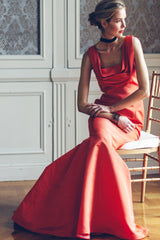 Poppy Hand Draped Square Neck Silk Faille Gown