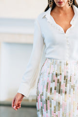 Straight Sequin Skirt