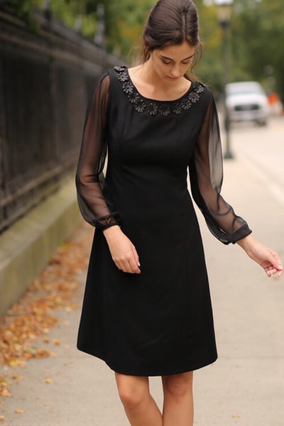 Sheer Bishop Sleeve Cocktail Dress with Leather Floral Applique Neckline