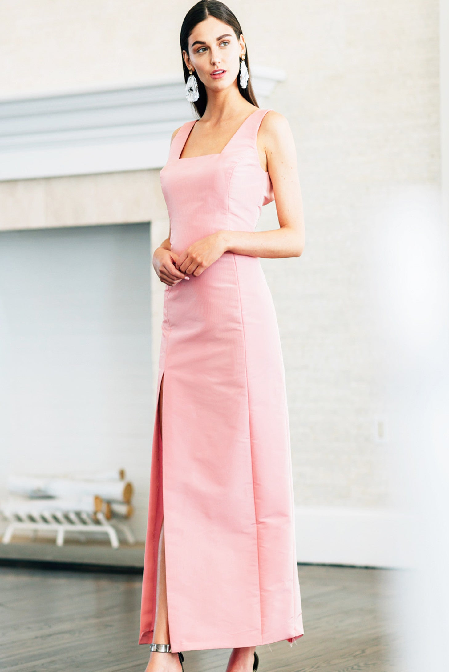 Square Neck Gown with Slit Detail