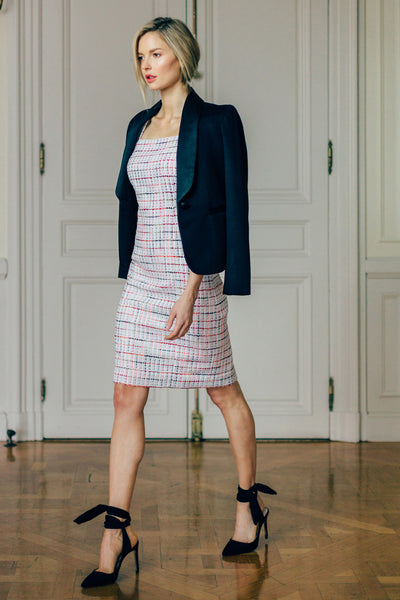 Tweed Square Neck Dress with Cap Sleeves
