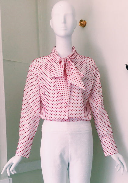 Tie Blouse with Raglan Sleeve in Swiss Dot