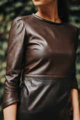 Vintage Empire Dress with Handstitch Detail in Italian Lambskin Leather