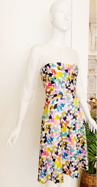 Bustier Dress in Silk Watercolor Print and Organza