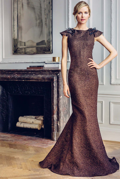 Bateau Neck Trumpet Evening Gown