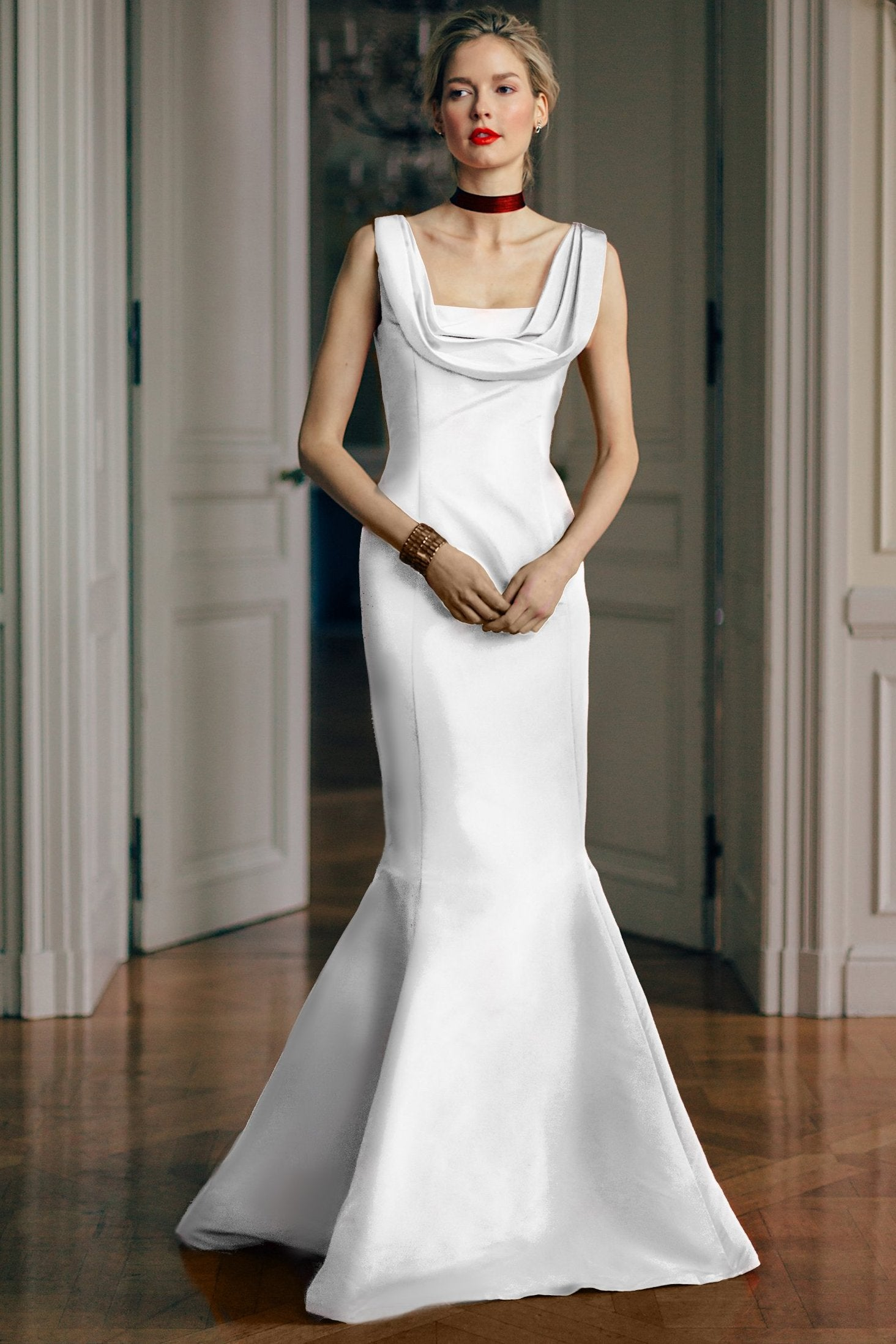Draped Square Neck Gown