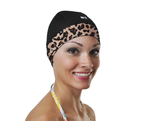 Black w. leopard trim swim cap that keeps hair dry long hair