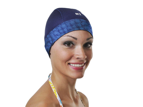 Navy w. trim swim cap that keeps hair dry long hair