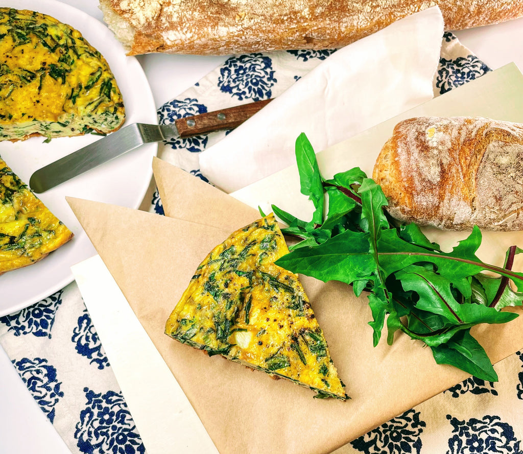 Spring Greens Frittata with Comté, Dandelion Greens & Flowering Onions