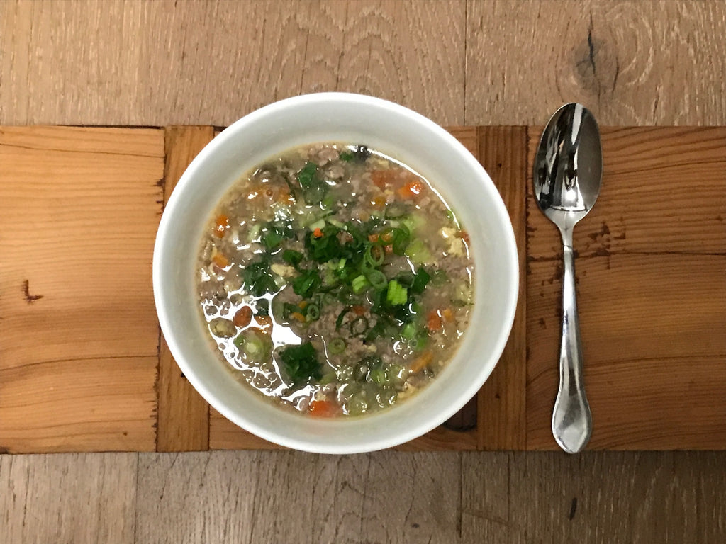 Ginger Scallion Soup with Ground Pork