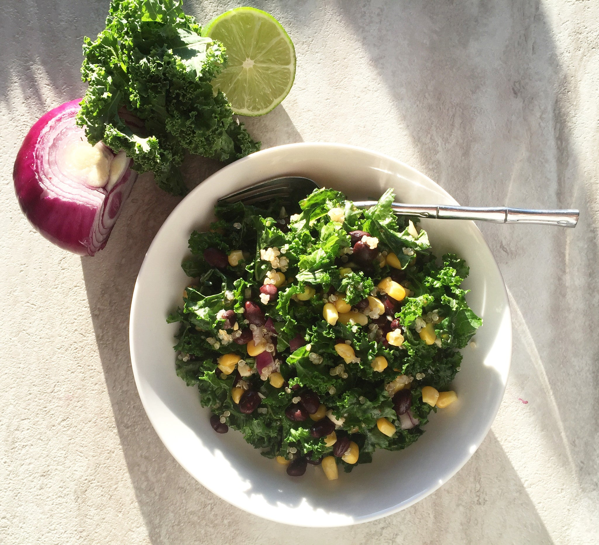 Spicy Kale and Black Bean Salad