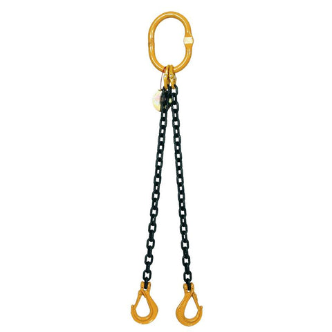 7.5 Ton Grade 8 Double Leg Chain Sling with Shortener and Self-Locking Hook - [Lifting365.com]