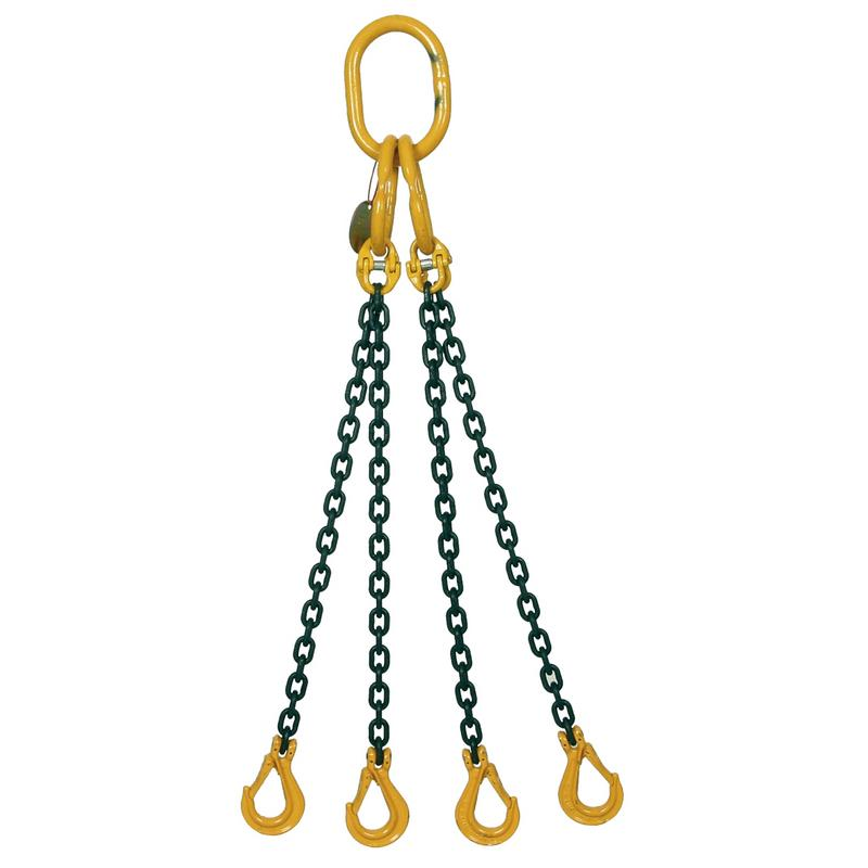 6.7 Ton Grade 8 Four Leg Chain Sling with Shortener and Self-Locking Hook - [Lifting365.com]