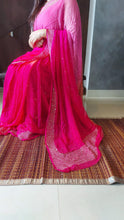 Load image into Gallery viewer, Copy of Pink Peach And Rani Pure Chiffon Handwork Saree.