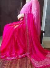 Load image into Gallery viewer, Pink Peach And Rani Pure Chiffon Handwork Saree.