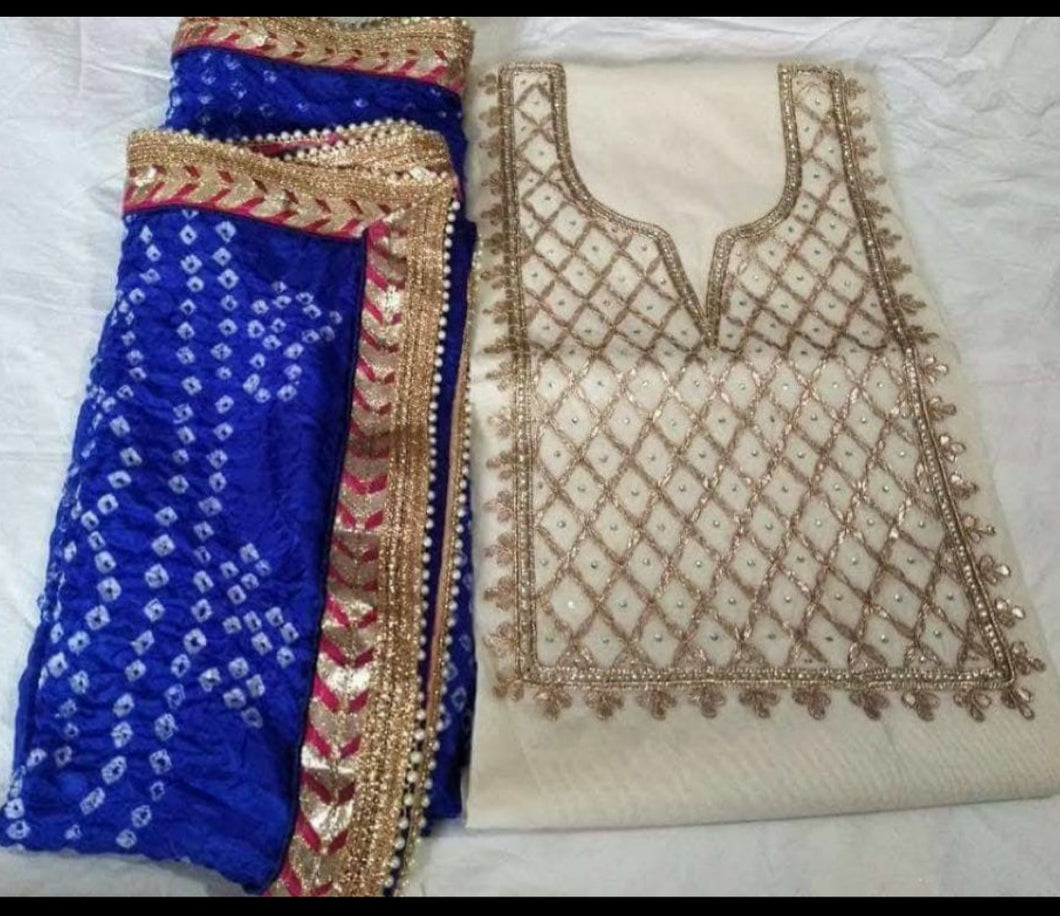White gota suit with bandhej dupatta