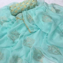 Load image into Gallery viewer, Panwari Work Chiffon Saree In Sky Blue