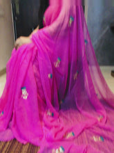 Load and play video in Gallery viewer, Pink Pure Chiffon Gota Patti Work Saree