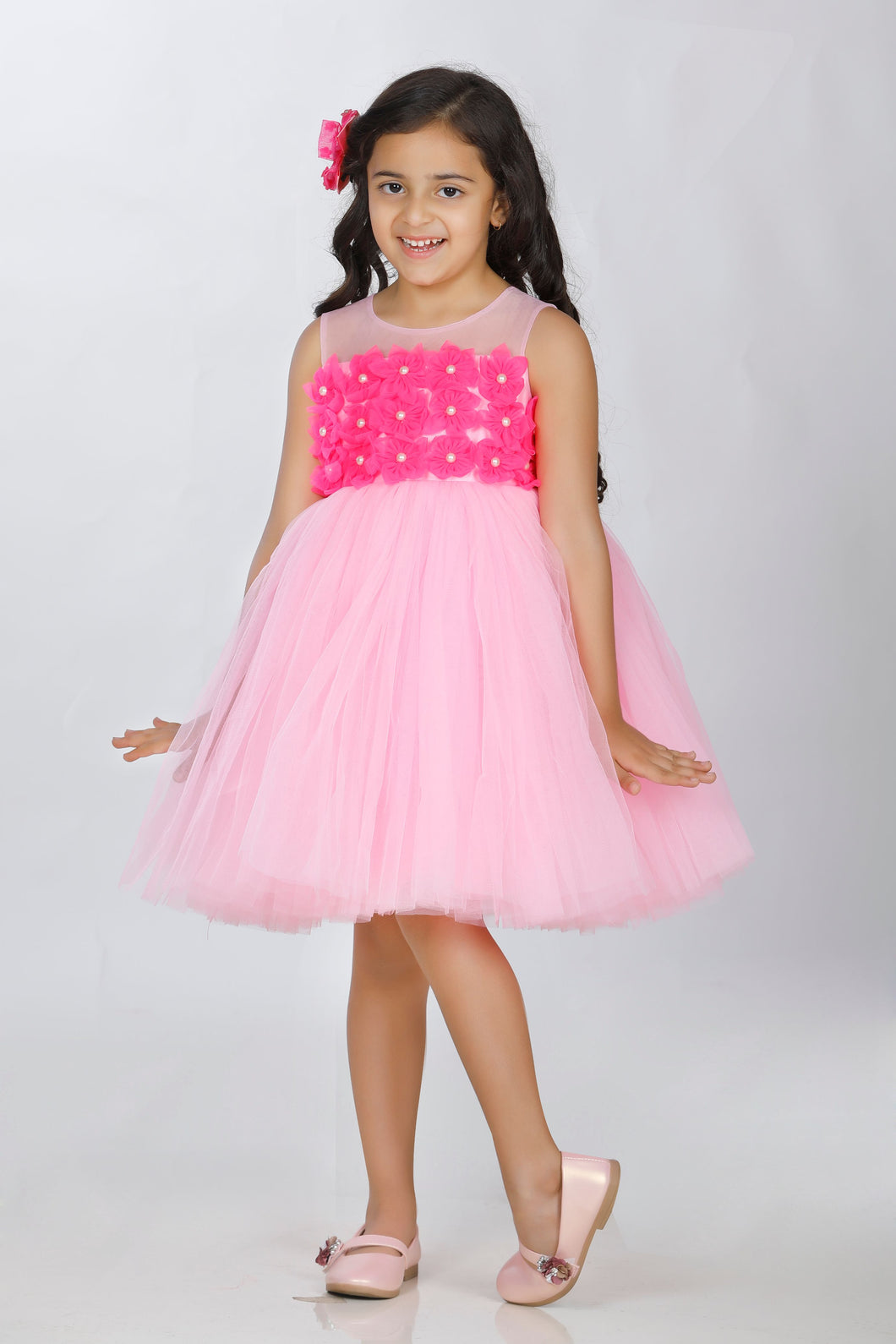 Baby Pink party wear frock little one