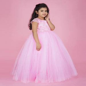 BabyPink PartyWear Gown For Baby