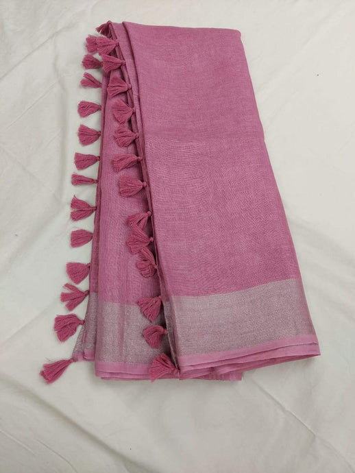 Baby Pink Pure Linen Saree,Best rates of line sarees in india, wholesale linen sarees online