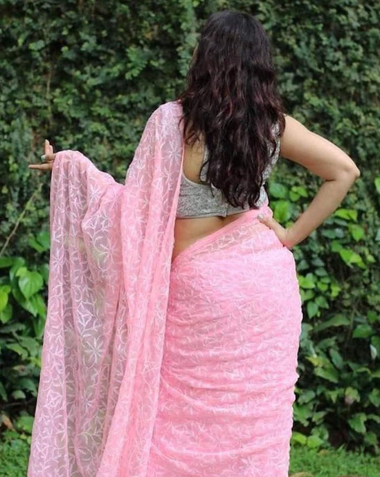 Babypink Lucknowi Tepechi Work Saree, Lucknowi Chikankari Sarees Online, Chikankari Sarees In Hyderabad