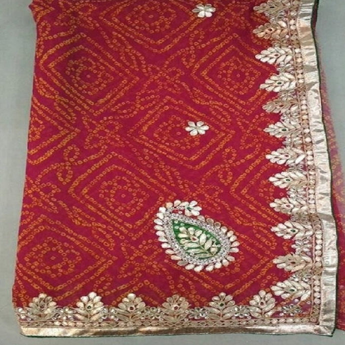 Badhini gota patti work saree in Red,gota patti saree wholesale surat,gota patti saree design