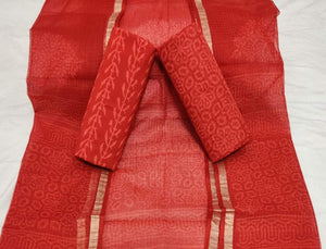 Bagru Kota Doria salwar suit in red, Kota doria salwar suits from rajasthan, Kota doria suits online