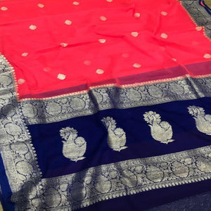 Banarasi Khaddi Saree In Blue And Red