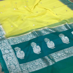 Banarasi Khaddi Saree In Yellow And Seagreen