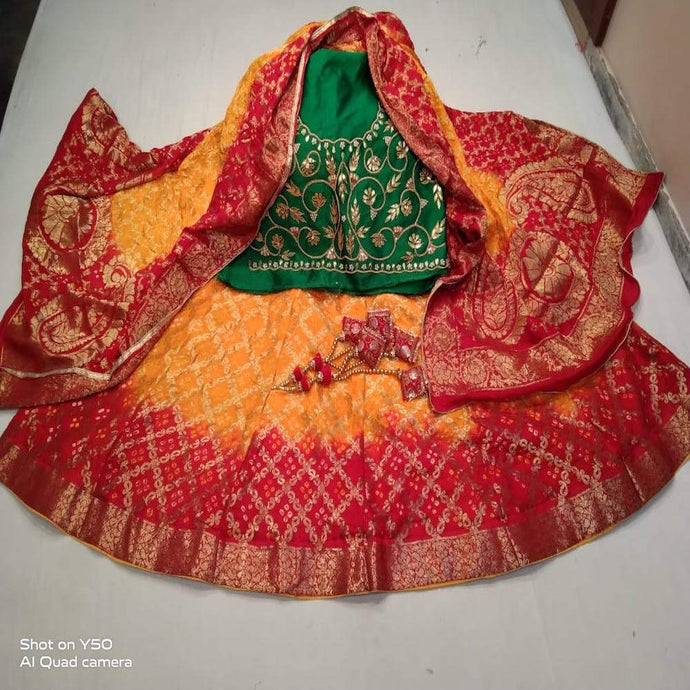 Banarasi Bandhani Lehenga in Green And Yellow ,Banarasi Silk Lehenga With Dupatta