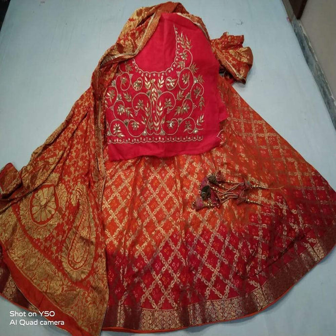 Banarasi Bandhani Lehenga in Orange And Red ,banarasi brocade lehenga choli with gota patti work, banarasi lehenga