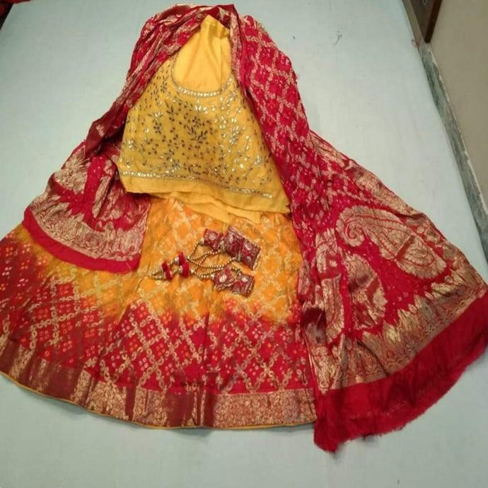 Banarasi Bandhani Lehenga in Yellow And Red , Pure Banarasi Lehenga with heavy Blouse