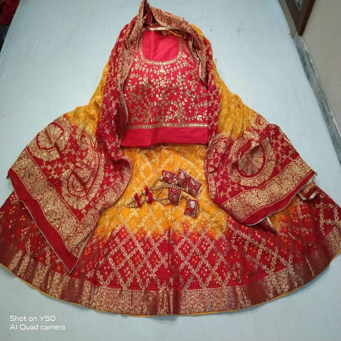 Banarasi Bandhani Red And Yellow ,latest banarasi lehenga designs, banarasi lehenga online