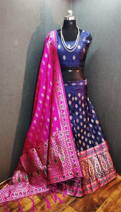 Banarasi Brocade Lehenga In Violet And Pink ,banarasi bridal lehenga with price, banarasi lehenga designs 2020