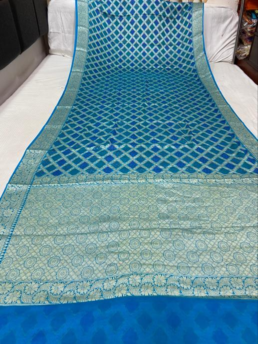 Banarasi Chiffon Bandhani Saree In Light Blue,Traditional Sarees, Banarasi BandhejSaree, Meenakari Banarasi saree, Banarasi Gatchola Saree