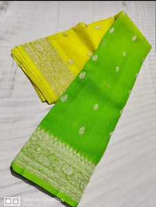 Banarasi Chiffon Shaded Khaddi Saree In LemonyellowGreen,Traditional Sarees, Banarasi Saree, Meenakari Banarasi saree, Banarasi Khaddi Saree