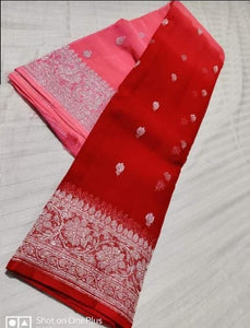 Banarasi Chiffon Shaded Khaddi Saree In RedPink,Traditional Sarees, Banarasi Saree, Meenakari Banarasi saree, Banarasi Khaddi Saree