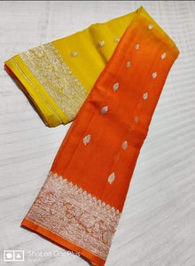 Banarasi Chiffon Shaded Khaddi Saree In YellowOrange,Traditional Sarees, Banarasi Saree, Meenakari Banarasi saree, Banarasi Khaddi Saree