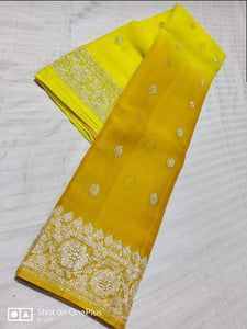 Banarasi Chiffon Shaded Khaddi Saree In Yellow,Traditional Sarees, Banarasi Saree, Meenakari Banarasi saree, Banarasi Khaddi Saree
