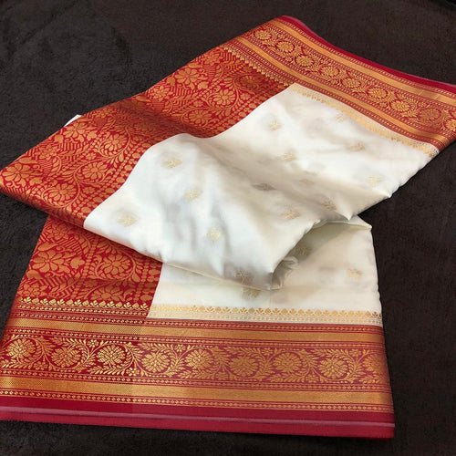 Banarasi silk red and cream golden saree,Banarasee silk saree, Bengali saree, Pujo saree