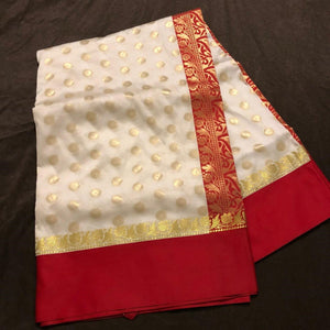 Banarasi silk red and cream sarees,Banarasee silk saree, Bengali saree, Pujo saree