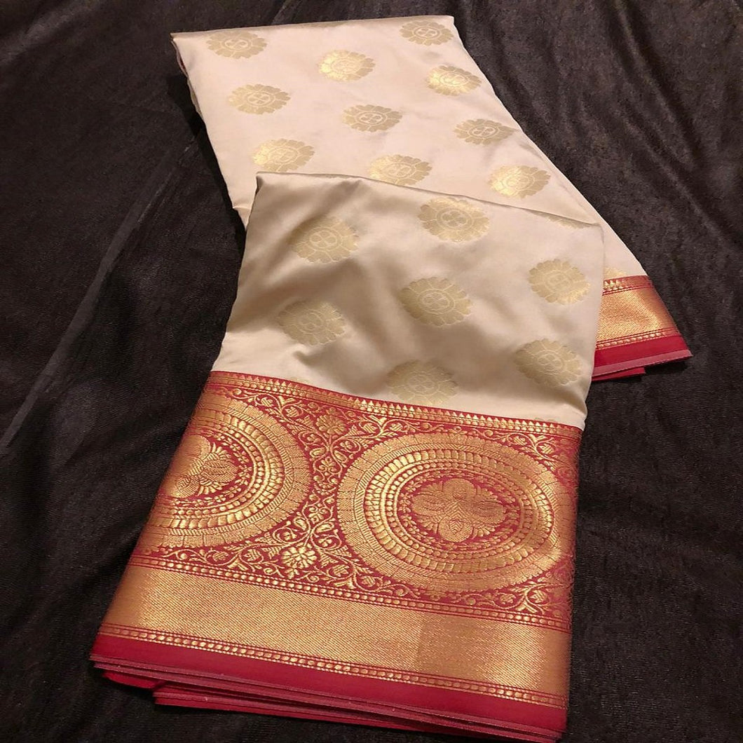 Banarasi silk red cream saree,Banarasee silk saree, Bengali saree, Pujo saree